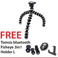 Flexible Tripod / Gorilla Pod Free Fisheye 3in1 Lens + Tomsis Bluetooth + Holder L For smartphone