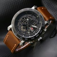 Jam Tangan Swiss army leather LS1637 - Brown Silver