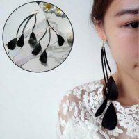 Unik IMPORT Anting Korea Bulu Panjang Hitam Earrings 0273AAr Murah