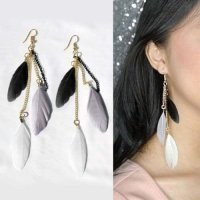 IMPORT Anting Bulu Korea Warna Warni Earrings 0302C5r-3 Berkualitas