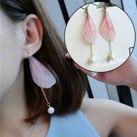 Dijual IMPORT Anting Bulu Trend Korea Kupu Mutiara Earrings 02 Diskon