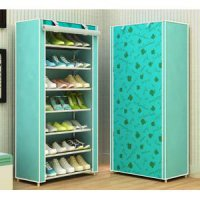 Rak Sepatu Sandal 7 Susun Shoes Dust Cover Cabinet Storage Motif