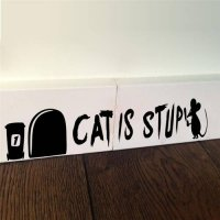 [globalbuy] Cat Is Stupid Mouse Hole Wall Stickers Resting Room Decorations Diy Vinyl Home/4629324