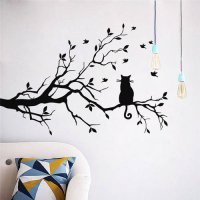 [globalbuy] Black Tree Wall Stickers Cat Bird Branch Leaf Home Decor Decals Wall PVC Art D/4629251