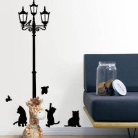 [globalbuy] JY 26 Mosunx Business 2016 Hot Selling Cats Street Lamp Lights Stickers Wall D/4629107