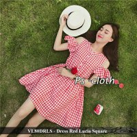 dress sabrina model baru - pusat dress baru - VL80DRLS - Dress Red Lucia Square