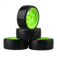 [globalbuy] Mxfans 4x Drift Mxfans Tire & Green Wheel Rim for RC 1:10 On Road Racing Car &/4556070