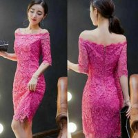 Midi Dress Brokat Sabrina Pink