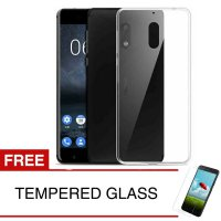 Case for Nokia 6 2017 - Clear + Gratis Tempered Glass - Ultra Thin Soft Case