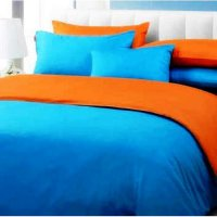 Jaxine Sprei Katun Prada Polos Warna biru orange Uk.90x200x20cm (Extra Single)