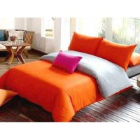 Jaxine Sprei Katun Prada Polos Warna Orange Abu Uk.120 x 200 x 20cm Single