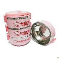 Lunch Box Hello Kitty / Rantang 3 Susun Kotak Makan Stainless Bekal