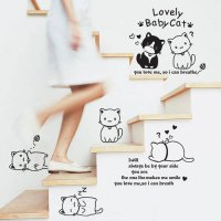 [globalbuy] Cute Cats Cartoon Wall Stickers Decal Removable Vinyl Waterproof Home Decal Nu/4626714