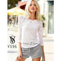 [VELVET ROOM] Victoria's Secret / Lace Baseball Tee / VS96 White / size XS / Cotton-Polyester