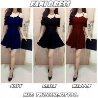 sabrina dress wanita baju gaun pesta polos cut out off shoulder dres