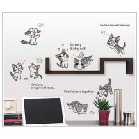 [globalbuy] 10 Lovely cute Cats playing Childs Sweet Home wall stickers Cat sticker DIY ho/4626054