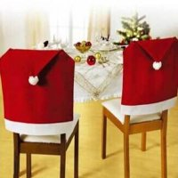 [globalbuy] 1pcs Hot Sale Fashion Santa Clause Red Hat Chair Back Cover Christmas Dinner T/4624672