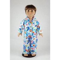 [poledit] Unique Doll Clothing Blue Heart Pajamas for 18` Including The American Girl Line/12241092