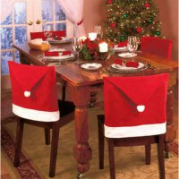 [globalbuy] Santa Clause Cap Red Hat Furniture Chair Back Cover Christmas Dinner Table Par/4623978