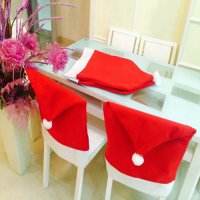 [globalbuy] 6pcs/SET Fashion Santa Clause Cap Red Hat Furniture Chair Back Cover Christmas/4623661