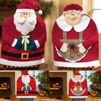 [globalbuy] 1pcs Santa Clause Cap Red Hat Furniture Chair Back Cover Christmas Dinner Tabl/4623541