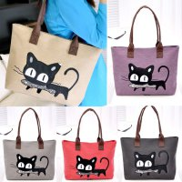 Hot Promo Korea Cute Cat Eat Fish Canvas Shoulder Bag / Tas Travel Kanvas Pundak