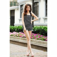 [DJ] Korean striped sleeveless long section of the Autumn female Halter Camisole bottoming