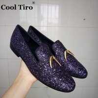 COOL TIRO New Purple sequins with gold tassel and exquisite crystal wedding loafers men dress flats Smoking Slippers shoes