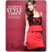 CCollections Zara Red Lace kode N077 Dress Imlek Merah spandek brukat