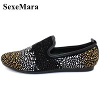 SexeMara New Mens Fashion Casual Flats Mens Wedding Party Shoes Rhinestone Loafers Genuine Leather Men Platform Driving Shoes