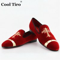 COOL TIRO Red Bottom men Iron sheet metal Fashion red Velvet embroidered Smoking Loafers Dress Party Wedding Flats Shoes