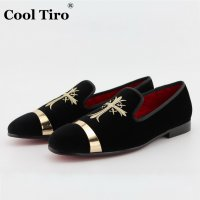 COOL TIRO Loafers men Red bottom Flats Metal sheets and embroidery Black velvet Wedding Casual Smoking Slippers Casual Shoes