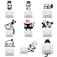 [globalbuy] Cute Cat Dog Panda Switch Sticker Home Decor Wall stickers for Kids Bedroom De/4618873