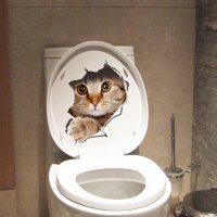[globalbuy] cute kitten toilet stickers wall decals 3d hole cat animals mural art home dec/4618860