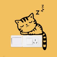 [globalbuy] switch stickers Cute Sleeping Cat home decor wall sticker for kids room bedroo/4618841