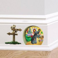 [globalbuy] 3d Funny Mouse hole Cat is Stupid wall sticker for kids rooms Cartoon wall dec/4618742