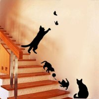 [globalbuy] 4 Cute Cats Wall Stickers For Kid Room Stair Diy Home Decals Vinyl Art Animals/4618505