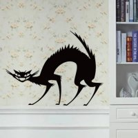 [globalbuy] Three Designs Black Cat Letters Wall Stickers Window Glass Door Wall Decal Hal/4618549