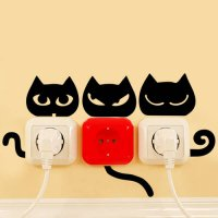 [globalbuy] 4 styles Black Funny cats Eye Tail switch stickers cats animal home decor wall/4618510