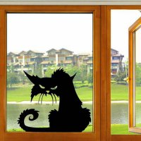 [globalbuy] 2017 Hot Popular Vinyl Removable 3D Wall Stickers Halloween Black Cats Decor D/4618355