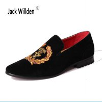 Jack Willden Mens Casual Loafers Genuine Leather Slip-on Dress Shoes Handmade Smoking Slipper Men Flats Wedding Party Shoe