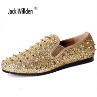 Jack Willden Top Quality Mens Wedding Party Shoes Fashion Spikes Men Loafers Rivets Casual Dress Shoes Men Flats Black Glod