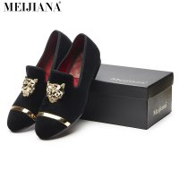 New fashion men party and wedding handmade loafers men velvet shoes with PP tiger and gold buckle men dress shoe men