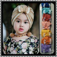 turban renda anting pom pom kids/kid/anak/baby/bayi/pompom
