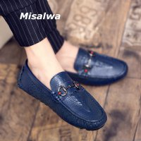 Misalwa Fashion Street Men Leather Loafers Comfortable Men Casual Shoes Crocodile Pattern Men Party Wedding Shoes