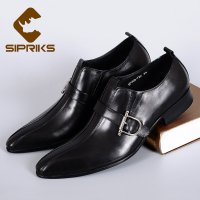 Sipriks slip on dress shoes with buckle strap elegant grooms wedding shoes italian pointed toe boss formal tuxedo shoes european