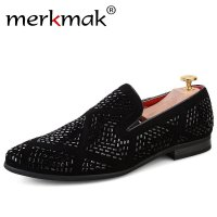 Merkmak Luxury Brand Men Loafers Handmade Leather Italian Loafers Flat Casual Shoes Driving Mocassins Party Wedding Dress Shoes