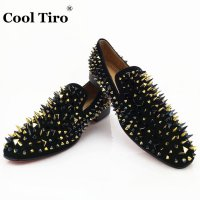 COOL TIRO Handcrafted Smoking Slipper Shoes Stuts Mixed Spikes Black Suede Loafers Men Wedding Party Dress Flats Genuine Leather