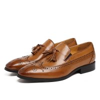 Fashion Black / brown loafers mens dress shoes genuine leather business shoes mens wedding shoes with tassel