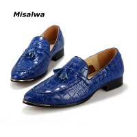 2017 Summer Men Tassel Point Toe Pattern Leather Loafers Blue Red Yellow EUR Size 38-43 Wedding Dating Barbers Shoes